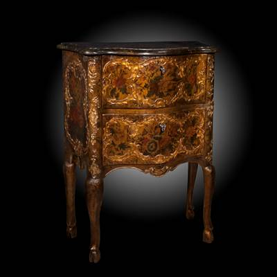 A lacquered and gilded small commode, decoration with flowers and vases, 2 drawers, Sicily, Italy, middle of 18th century (70 cm wide, 92 cm high, 36 cm deep)