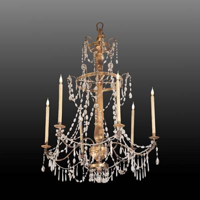 A crystal chandelier, 6 iron arms of light, central part in carved and gilded wood, Genoa, Italy, late 18th century (120 cm high, 85 cm diameter)