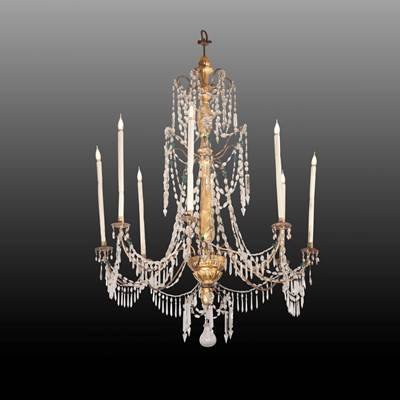 A crystal chandelier, 8 iron arms of light, central part in carved and gilded wood, Genoa, Italy, late 18th century (130 cm high, 90 cm diameter)