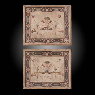 A pair of tempera paintings, decoration of grotesques, Tuscany, Italy, late 18th century (65 cm wide, 54 cm high)