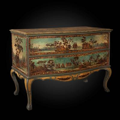 A rare arte povera decorated commode, the top in lacquered wood, 2 drawers, Venice, circa 1760 (128 cm wide, 93 cm high, 52 cm deep)