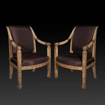 A pair of lacquered, gilded and carved wood armchairs, Naples, Italy, early 19th century (94 cm high, 62 cm wide, 65 cm deep)