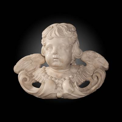 A white Carrara marble angel's head, Italy, 18th century (33 cm wide, 24 cm high, 16 cm deep)
