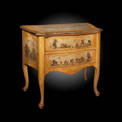 An arte povera painted commode, 2 drawers, Venice, circa 1760 (92 cm wide, 84 cm high, 53 cm deep)