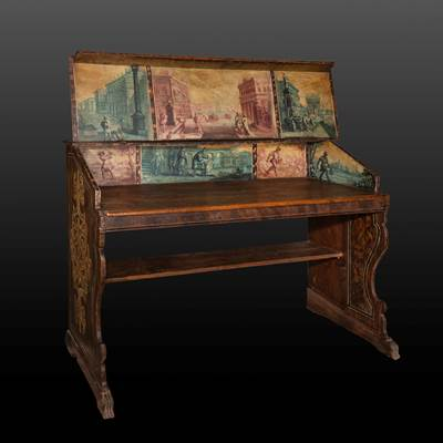 An exceptional painted desk, decoration with Venetian views, Venice, Italy, 17th century, museum quality (146 cm wide, 108 cm high, 62 cm deep)