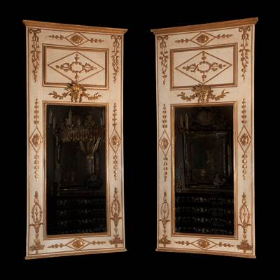 A pair of important lacquered and gilded wood mirrors, Naples, Italy, late 18th century (215 cm high, 95 cm wide)