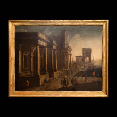 Coppia di rovine animate di personaggi, olii su tela attribuiti a Viviano Codazzi (1604-1672), 96 cm x 73 cm, con cornici : 109 cm x 85 cm