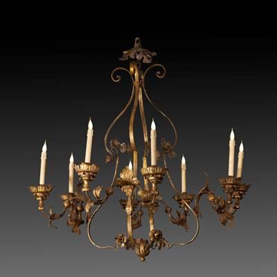 Important lustre en fer doré à 8 bras de lumière, Italie du nord, XVIIIème (hauteur 120 cm, diamètre 110 cm)