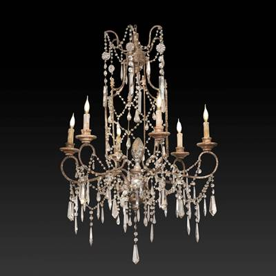 An iron and silvered wood chandelier, 6 arms of light, Tuscany, 18th century (100 cm high, 70 cm diameter)