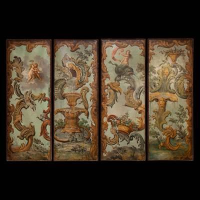 Insieme di 4 oli su tela a decoro di personaggi, grottesche, fontane ed elementi vegetali, Francia, inizio del 18° secolo (ogni tela : altezza 150 cm, larghezza 55 cm)