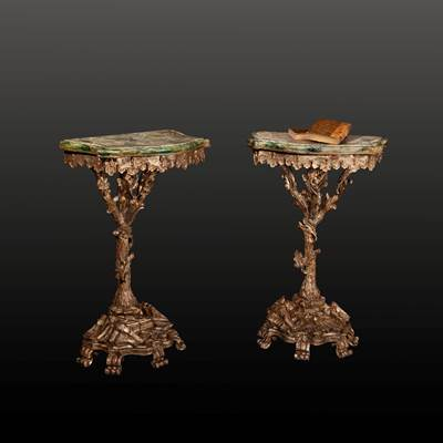 A pair of small silvered and painted wood consoles, vegetal decoration, Italy, middle of 19th century (66 cm high, 41 cm wide, 26 cm deep)