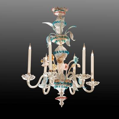 A Murano chandelier, 6 arms of light, Venice, 19th century (100 cm high, 70 cm diameter)(39 in. high, 28 in. diameter)