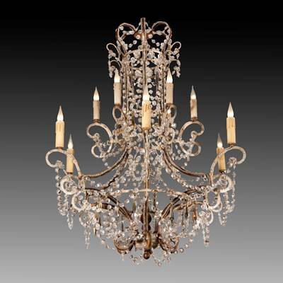 A glass chandelier, 12 arms of light on 2 levels, Italy, 20th century (95 cm high, 80 cm diameter)(37 in. high, 31 in. diameter)