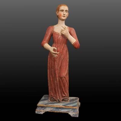 Personaggio policromo in legno scolpito, Venezia, inizi 17° secolo (altezza 82 cm)