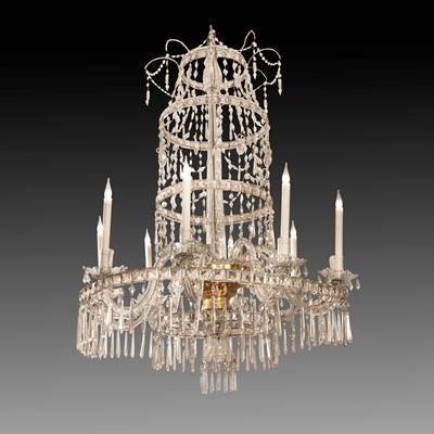 An important and very elegant crystal chandelier, 8 crystal arms of light, early 19th century (125 cm high, 90 cm diameter)(48 in. high, 37 in. diameter)