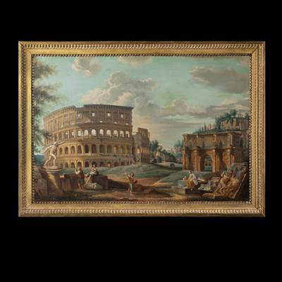 An oil on canvas, Roman School, the view of the Coliseum, Italy, circa 1800, in a carved and gilded wood frame, circa 1800 (106 cm x 76 cm, without the frame 94 cm x 64 cm)