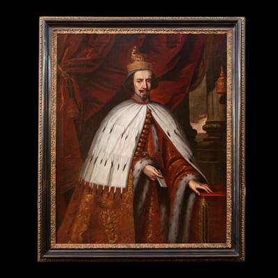 An oil on canvas, a ceremonial portrait of Bertuccio Valier or Valiero, the 102th Doge of Venice (1656-1658), Venetian school, middle of 17th century, with an ebonized frame, 17th century (with the frame : 182 cm x 154 cm, without the frame : 160 cm x 130 cm)