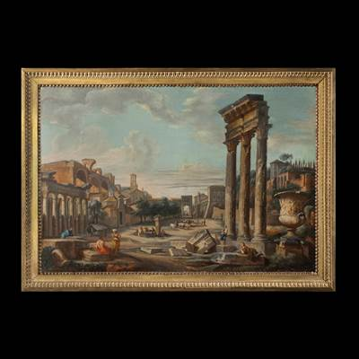 A oil on canvas, Roman School, view of the Roman Forum, Italy, circa 1800, in a carved and gilded frame, circa 1800 (106 cm x 76 cm, without the frame : 94 cm x 64 cm)