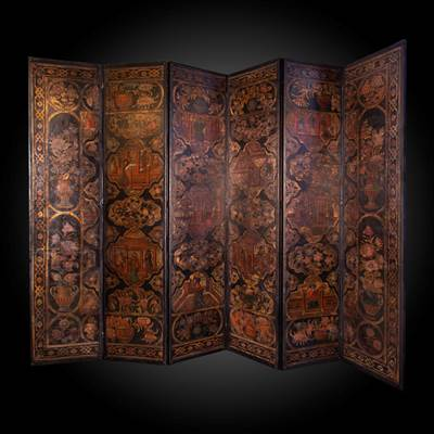 A painted and gilded leather folding screen, 6 panels, Flanders, early 18th century (242 cm high, each panel : 53 cm wide)