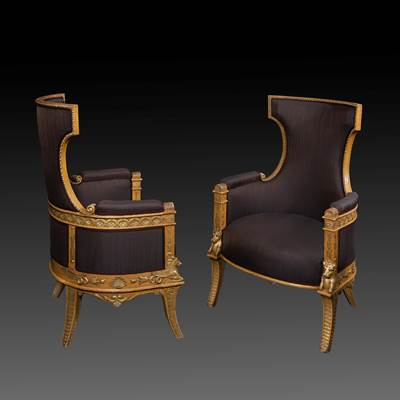 A pair of lacquered and gilded wood armchairs, Italy, circa 1820 (108 cm high, 68 cm wide, 65 cm deep)