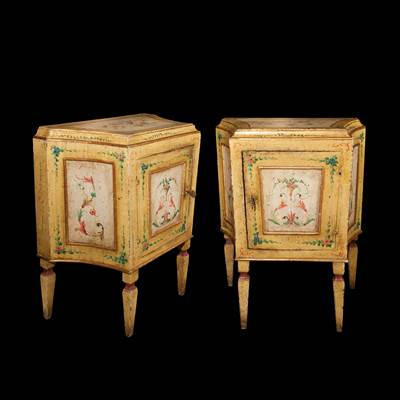 A pair of painted wood bedsides, Venice, Italy, late 18th century/early 19th century (69 cm wide, 79 cm high, 40 cm deep)
