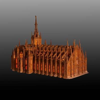 Raro modello in legno del Duomo di Milano, datato all' interno 1936-1938 (135 cm x 80 cm, altezza 95 cm)