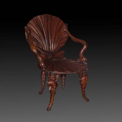 A walnut grotto armchair, Venice, late 19th century